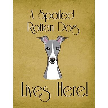 Caroline's Treasures Spoiled Dog Lives Here 2-Sided Garden Flag; Greyhound