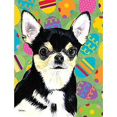 Caroline's Treasures Easter Eggtravaganza 2-Sided Garden Flag; Chihuahua (Black and Beige)