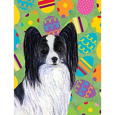 Caroline's Treasures Easter Eggtravaganza 2-Sided Garden Flag; Papillon (Black and White)