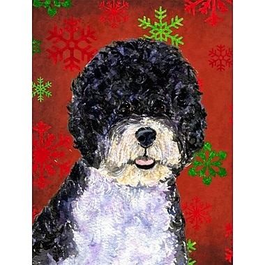 The Holiday Aisle Snowflakes Christmas House Vertical Flag; Portuguese Water Dog