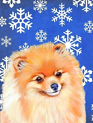 East Urban Home Winter Snowflakes Holiday House Vertical Flag; Pomeranian
