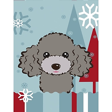 Caroline's Treasures Winter Holiday 2-Sided Garden Flag; Poodle (Silver Gray)