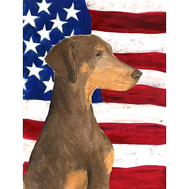 Caroline's Treasures American Flag 2-Sided Garden Flag; Doberman (Brown)