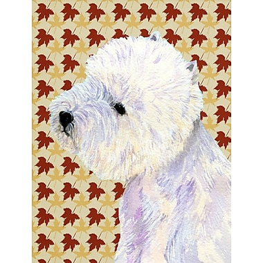 East Urban Home Fall Leaves House Vertical Flag; Westie (White)