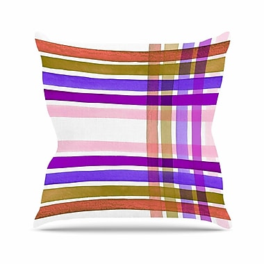 East Urban Home Ebi Emporium Plaid Stripes in Color 6 Outdoor Throw Pillow; 16'' H x 16'' W x 5'' D