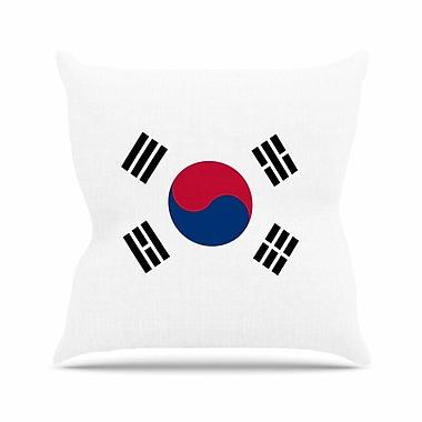 East Urban Home Bruce Stanfield Flag of Korea Digital Outdoor Throw Pillow; 18'' H x 18'' W x 5'' D