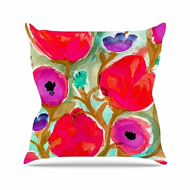 East Urban Home Crystal Walen Fiona Flower Outdoor Throw Pillow; 16'' H x 16'' W x 5'' D