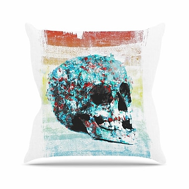 East Urban Home Frederic Levy-Hadida Floral Skully 2 Outdoor Throw Pillow; 18'' H x 18'' W x 5'' D