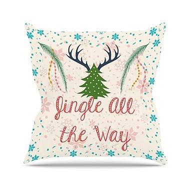 East Urban Home Famenxt Jingle All the Way Holiday Digital Outdoor Throw Pillow