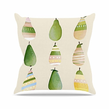 East Urban Home Judith Loske Happy Pears Outdoor Throw Pillow; 16'' H x 16'' W x 5'' D