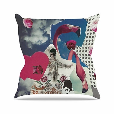 East Urban Home Jina Ninjjaga Flamingo Attack Pop Art Outdoor Throw Pillow; 16'' H x 16'' W x 5'' D