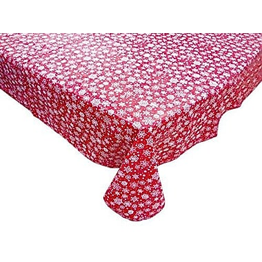 The Holiday Aisle Snow Flake Round Vinyl Tablecloth w/ Polyester Flannel Backing