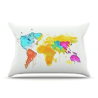 East Urban Home Oriana Cordero 'World Map' Rainbow Pillow Case