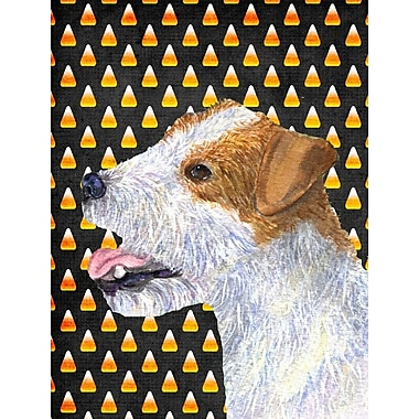 East Urban Home Candy Corn Halloween House Vertical Flag; Jack Russell Terrier (Orange)