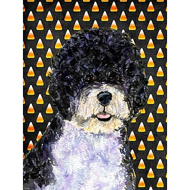 East Urban Home Candy Corn Halloween House Vertical Flag; Portuguese Water Dog