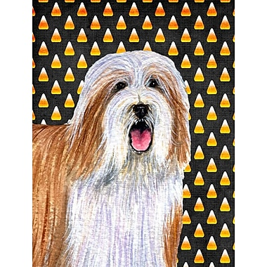 East Urban Home Candy Corn Halloween House Vertical Flag; Silky Terrier (White & Brown)
