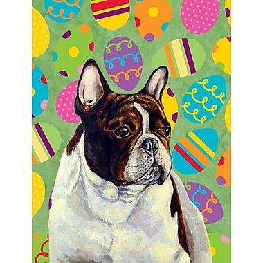 Caroline's Treasures Easter Eggtravaganza House Vertical Flag; French Bulldog (White & Brown)