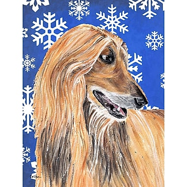 East Urban Home Winter Snowflakes Holiday 2-Sided Garden Flag; Afghan Hound