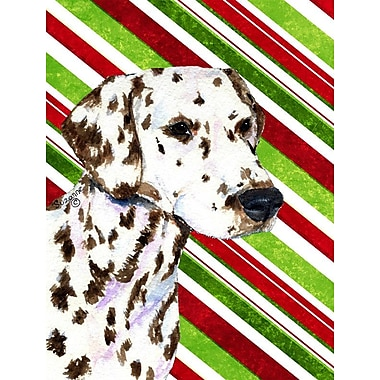 Caroline's Treasures Candy Cane Holiday Christmas House Vertical Flag; Dalmatian (Black & Brown)