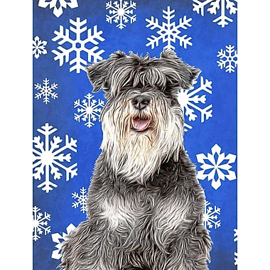 East Urban Home Winter Snowflakes Holiday House Vertical Flag; Schnauzer (Gray)