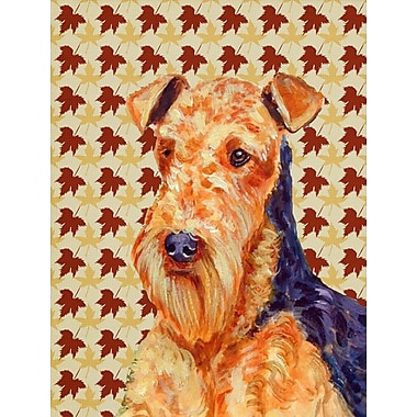 East Urban Home Fall Leaves House Vertical Flag; Airedale (Orange and Blue)