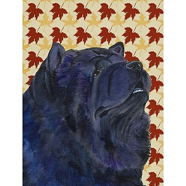East Urban Home Fall Leaves House Vertical Flag; Chow Chow (Black)