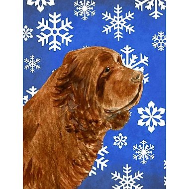 East Urban Home Winter Snowflakes Holiday House Vertical Flag; Sussex Spaniel