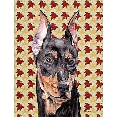 East Urban Home Fall Leaves House Vertical Flag; German Pinscher