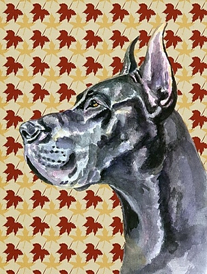 East Urban Home Fall Leaves House Vertical Flag; Great Dane (Gray)