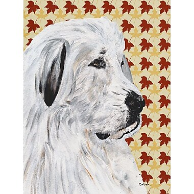 East Urban Home Fall Leaves House Vertical Flag; Great Pyrenees