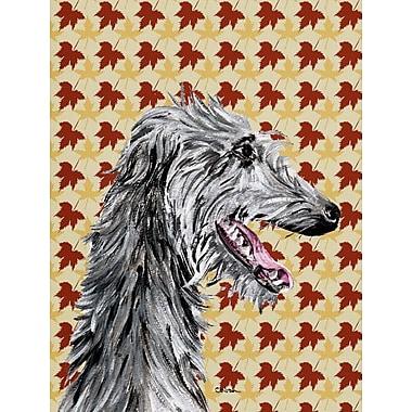 East Urban Home Fall Leaves House Vertical Flag; Scottish Deerhound 2