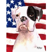 Caroline's Treasures American Flag 2-Sided Garden Flag; Boxer (Black & White)