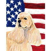 Caroline's Treasures American Flag 2-Sided Garden Flag; Cocker Spaniel (Beige & White)