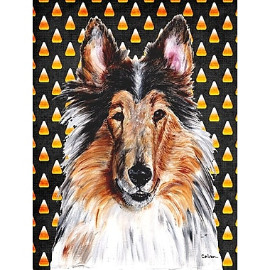 East Urban Home Candy Corn Halloween 2-Sided Garden Flag; Bearded Collie (Black and Beige)