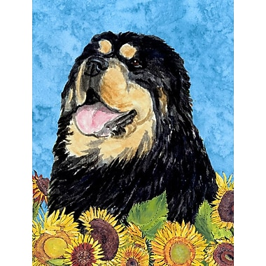 East Urban Home Dog and Sunflower House Vertical Flag; Tibetan Mastiff