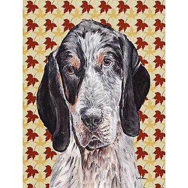 Caroline's Treasures Fall Leaves 2-Sided Garden Flag; Coonhound (Black and Grey)