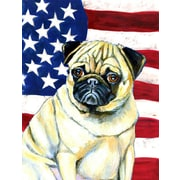 Caroline's Treasures American Flag 2-Sided Garden Flag; Pug (Yellow & White)