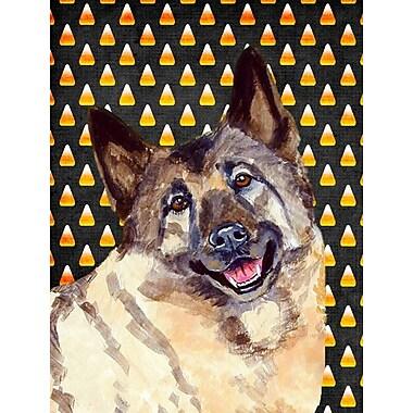 East Urban Home Candy Corn Halloween 2-Sided Garden Flag; Norwegian Elkhound