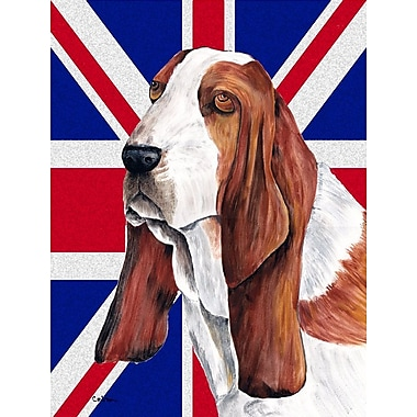 East Urban Home English Union Jack British Flag 2-Sided Garden Flag; Basset Hound (Brown and white)