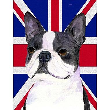 East Urban Home English Union Jack British Flag 2-Sided Garden Flag; Boston Terrier (Gray and white)
