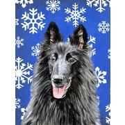 East Urban Home Winter Snowflakes Holiday 2-Sided Garden Flag; Belgian Sheepdog