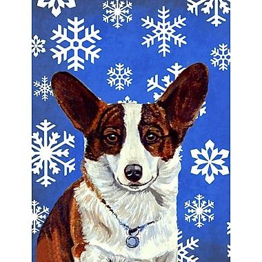 East Urban Home Winter Snowflakes Holiday 2-Sided Garden Flag; Corgi (Brown & White)