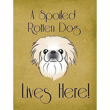 Caroline's Treasures Spoiled Dog Lives Here 2-Sided Garden Flag; Pekingese