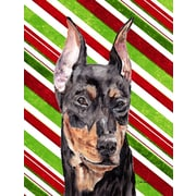 Caroline's Treasures Candy Cane Christmas House Vertical Flag; German Pinscher