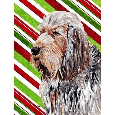 Caroline's Treasures Candy Cane Christmas House Vertical Flag; Otterhound (Beige and Gary)