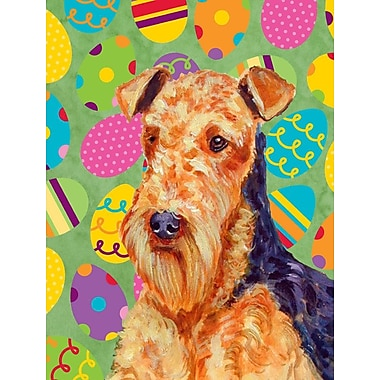 Caroline's Treasures Easter Eggtravaganza House Vertical Flag; Airedale (Orange)