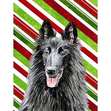 Caroline's Treasures Candy Cane Holiday Christmas House Vertical Flag; Belgian Sheepdog