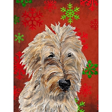 Caroline's Treasures Red and Green Snowflakes Holiday Christmas 2-Sided Garden Flag; Golden Doodle 2
