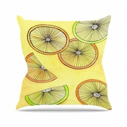 East Urban Home Rosie Brown Lemons and Limes Fruit Outdoor Throw Pillow; 16'' H x 16'' W x 5'' D