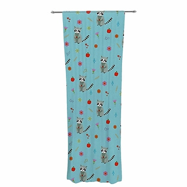 Cristina Bianco Cute Raccoon Pattern Wildlife Sheer Rod Pocket Curtain Panels Panels (Set of 2)